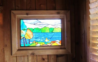 Stained Glass designed by local artist in Master Bedroom