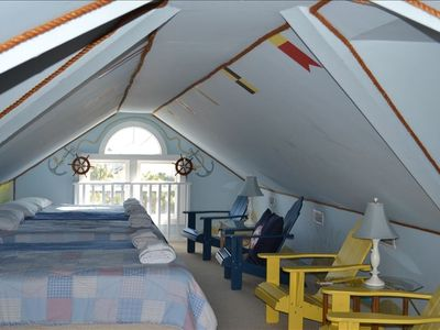 4th floor 'kids haven' is a loft with 5 Beds and ship-theme decorated
