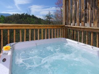Wears Valley cabin photo - Lower Deck: 6 Person Hot Tub with Privacy Wall, Spectacular Smoky Mountain View
