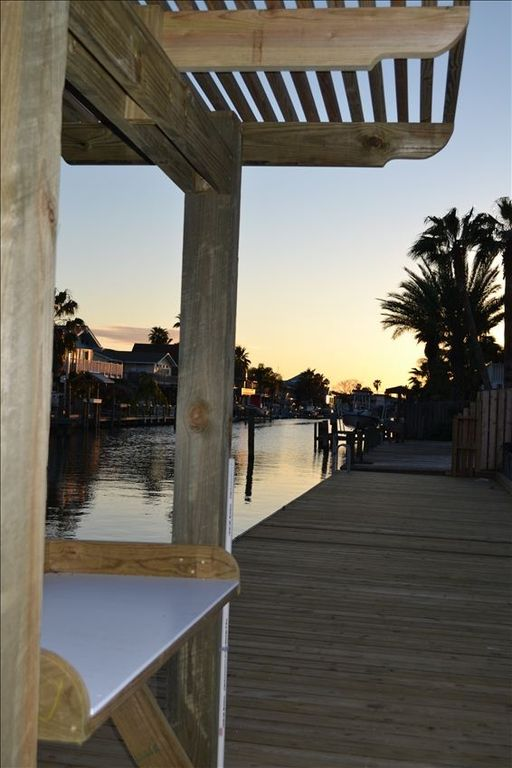 Our fish cleaning station and large dock, with room for a boat or two, at sunset