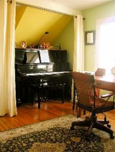 THE HIDEAWAY: Our piano nook and office desk in the 'Himalaya' bedroom