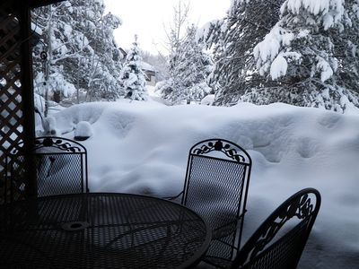 Winter patio view with record snow fall in 2011,