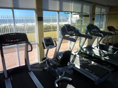 Fitness Center with beach view