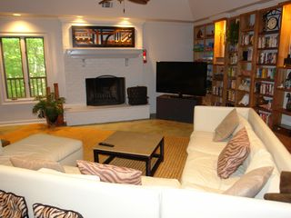 Big Canoe house photo - Terrace wood burning fire place, large flat screen tv and media center.