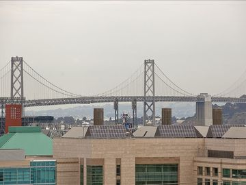 View of Bay Bridge from apartment.