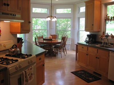 Kitchen: fully-furnished eat-in with appliances, utensils, flatware and cookware