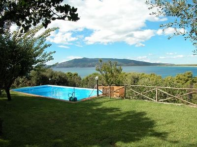 Garden, pool and view of Argentario