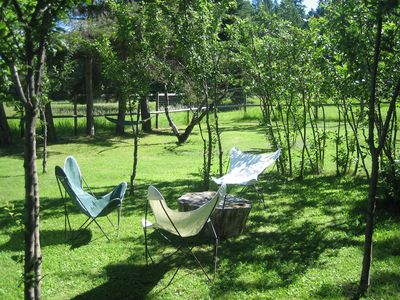 Hanging out in the orchard. Enjoy fresh fruits and vegies from the gardens.