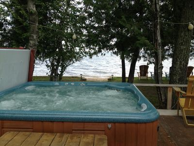 Lake Vermilion cabin rental - NEW FEATURE: Enjoy a hot tub that is built in to the deck with a view of Big Bay