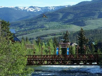 Pedestrian bridge over Blue River at Silverthorne Outlets, 8 mins away by car