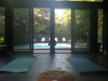 Yoga overlooking the pool