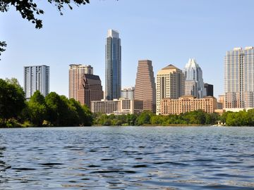 Fabulous view of downtown Austin, as seen from our dock