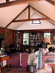 Lenox estate photo - Great Room with Library and Stone Fireplace