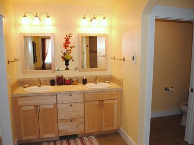 Master Suite #1 Double vanity and heated floors.