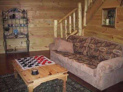 Enjoy a game of checkers in the family room.