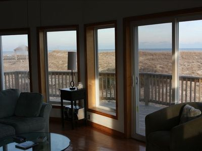 Ocean, Dune, and Deck from Third Level Living Room