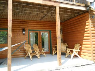 Blue Ridge cabin photo - Patio with Log Chairs and Big Hammock