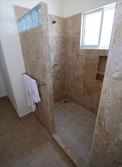 Puerto Escondido condo photo - Huge walk-in shower, done in travertine marble