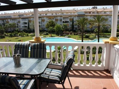 Puerto Banus apartment rental - Terrace overlooking pool and gardens