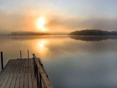 A misty morning over our dock.