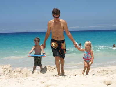 Our son & 2 grandchildren enjoying the beach at Kua Bay, just 7 miles away.