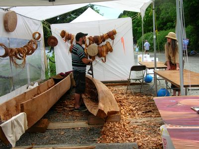 Local canoe carver at the Ladysmith's Marine Festival