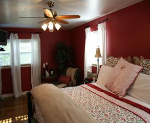 Robbinsville house photo - Sleep late in the Red Room...King bed with private full bath. Jacuzzi tub.