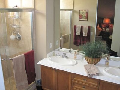 Master Bath with travertine tile