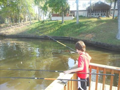 Fishing in front of Cabin