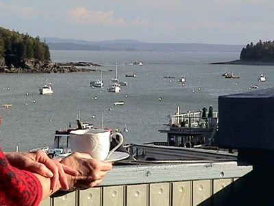 Ahhhhh, coffee on the deck. Join us on the Bar Harbor Waterfront!