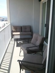 Belmont Towers Ocean City condo photo - Cushioned Balcony Furniture Great for People Watching and Ocean Views!
