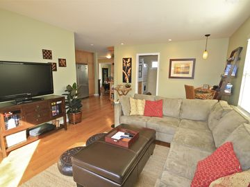 Santa Cruz house rental - Spacious, light and comfortable great room. Sofa converts into queen bed.