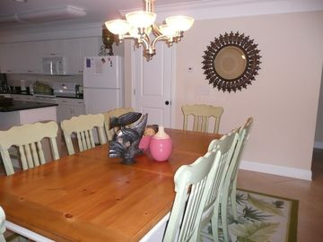 Dining room with cottage table and 8 chairs
