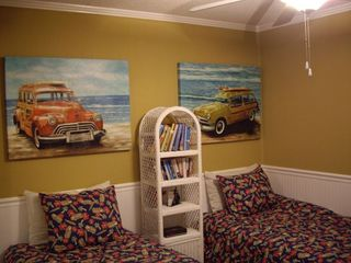The kids will love the fun twin beds and great wall art. Games in the closet.