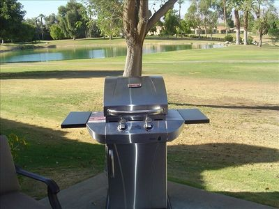 Gas Grill. Perfect for preparing a few juicy steaks after a successful round.