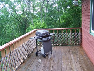 Lake Bomoseen house photo - Grill on the deck with views of the lake.