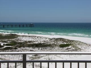 Fort Walton Beach condo photo - Beach view from balcony with pier on Okaloosa Island in the background.
