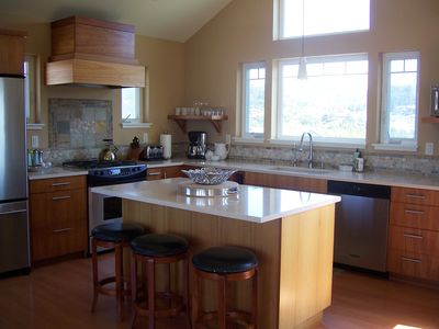 Gourmet kitchen with gas stove and all stainless steel applicances