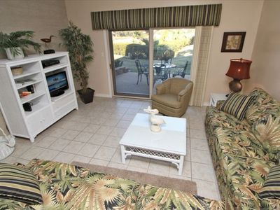 Sea Pines townhome rental - Sunken Living Room with Pella SGD's to Beautiful patio backing to the Marsh!