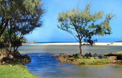 Kilauea house rental - Rock Quarry Beach - At the Mouth of the Kilauea River