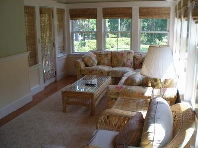 Bright and lovely sunroom.