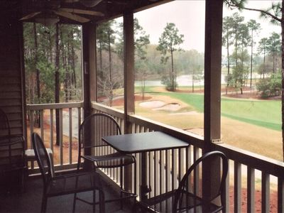 Deck overlooking the 17 hole at True Blue