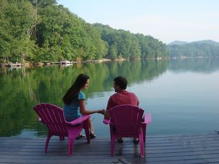 Lake Glenville lodge photo - Relax and enjoy your dock only steps from porch