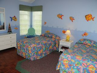 "Second floor ""fish"" guest bedroom with 3-D fish on the walls - Captiva Island house vacation rental photo"