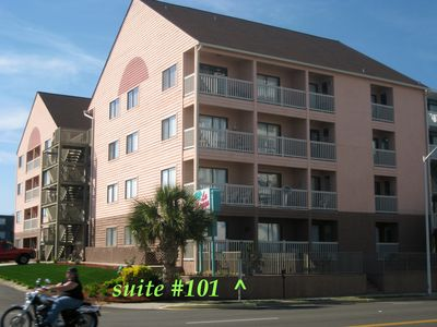 La Mirage condo rental - Bldg Front / Balcony face Ocean Blvd & direct Beach Access