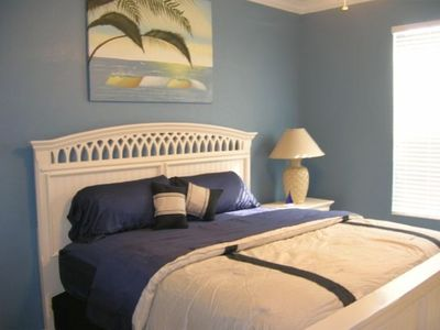Master Bedroom - Nautical Theme with King Size Bed and View of Lake & Pool