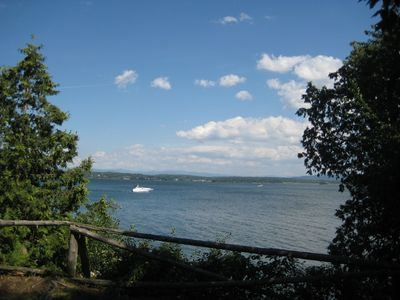 View from the Cedar's private deck over Lake Champlain