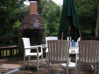 Orleans house photo - Back Deck and Outdoor Fireplace