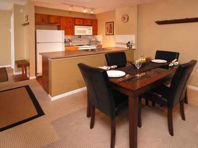 Fully stocked kitchen and dining area