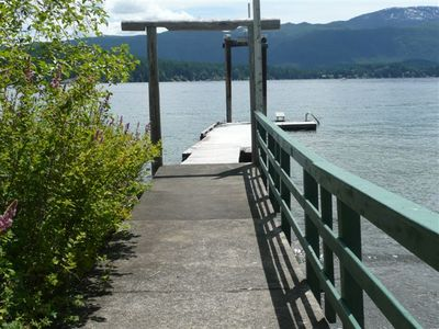 Private dock with protected pebble beach